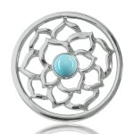 Nikki Lissoni Turquoise Flower Medium Coin 33mm, C1011SM