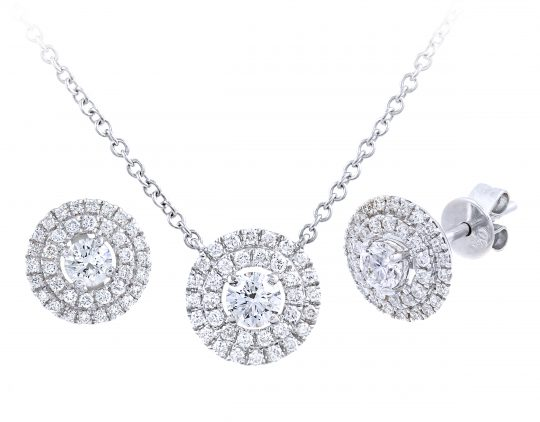 Double Halo Diamond set Pendant and Earrings