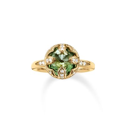 Thomas Sabo Size 54 white cz & green synthetic spinel Ring