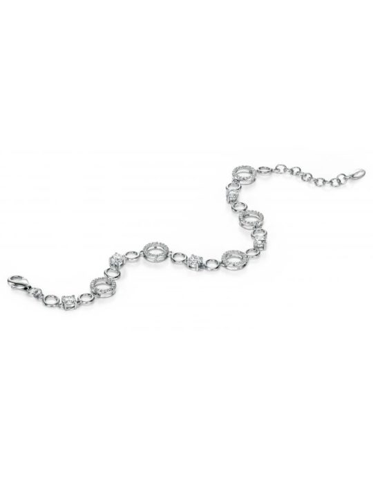 Fiorelli Silver Round CZ Bracelet With Pave Circles