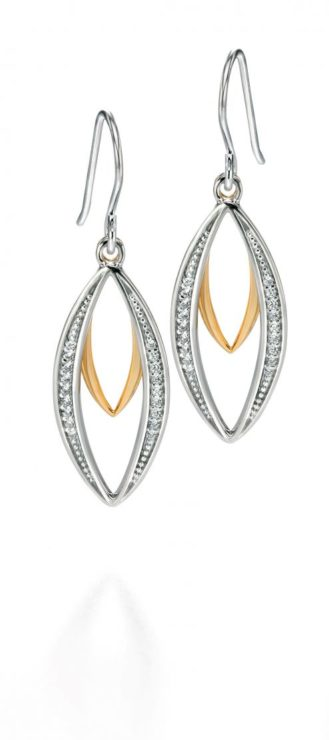 Fiorelli Silver & Gold plated Double Marquise Dangly Earrings With CZ Pave