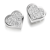 Diamond Heart Cluster Stud Earrings