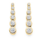 Diamond Set Graduated Drop Earrings