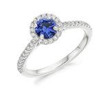 Sapphire And Diamond Halo Set Engagement Ring