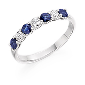 Diamond And Sapphire Half Eternity Ring