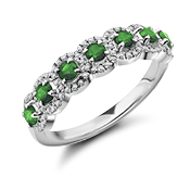 Diamond And Emerald Half Eternity Ring