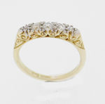 Victorian Style Carved Claw 5 Stone Diamond Ring