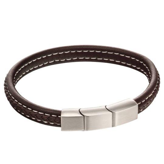 Fred Bennett Brown Leather Plaited Bracelet