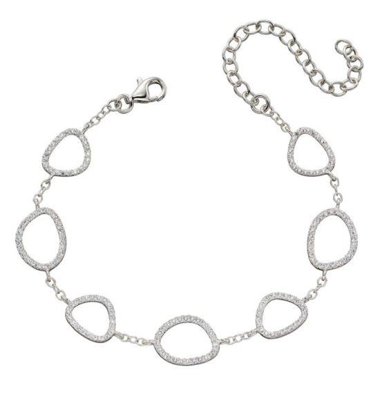 Elements Silver CZ Pebble Bracelet