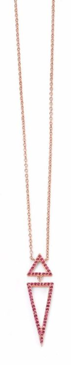 Elements Rose Gold Plated Pink CZ Double Triangle Necklace