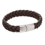 Fred Bennett Brown Leather French Plait Bracelet