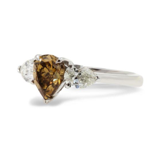 Natural Cinnamon Colour Diamond, 3 Stone Ring