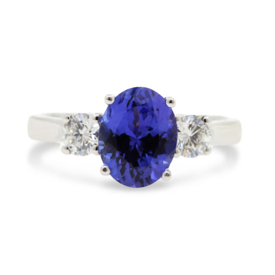 Tanzanite and Diamond Three Stone Ring