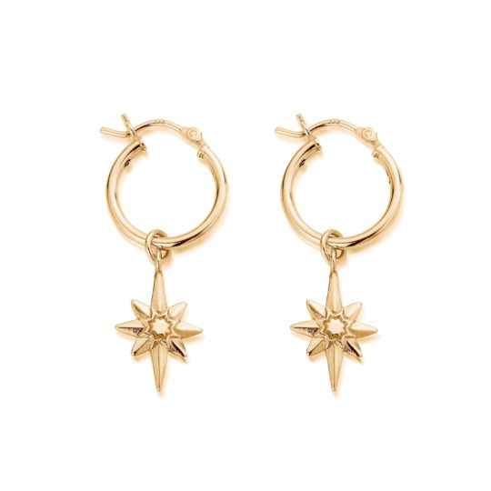 ChloBo Lucky Star Hoops Gold Plated