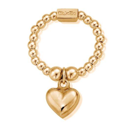 ChloBo Mini Gold Plated Puffed Heart Ring
