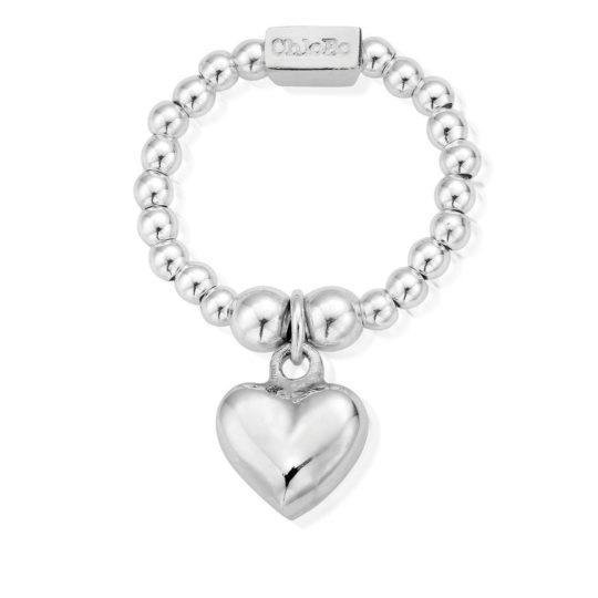 ChloBo Mini Silver Puffed Heart Ring